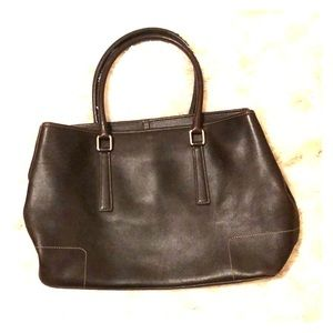 Dark brown coach purse/tote with stitching